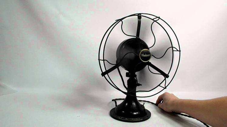 electric fan, vintage, appliance, black, steel